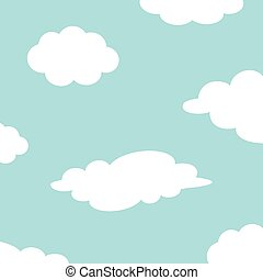White cloud set on the sky. Fluffy clouds. Cute cartoon cloudscape. Cloudy weather sign symbols. Flat design Decoration element. Blue background.