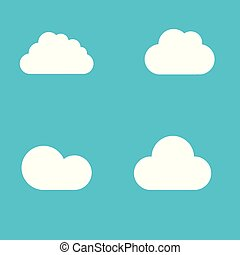 white cloud shapes icon on blue font