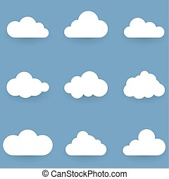 White cloud shapes isolated on blue background