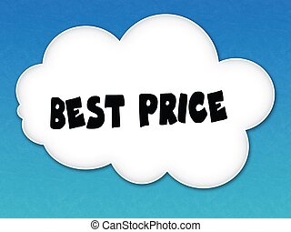 White cloud with BEST PRICE message on blue sky background.