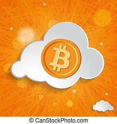 white cloud with bitcoin symbol on an orange striped background