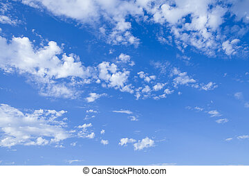 White cloud with blue sky background.
