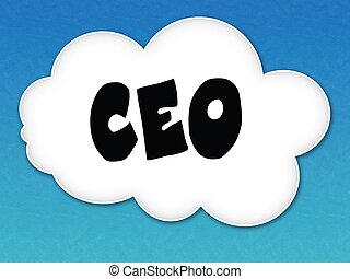 White cloud with CEO message on blue sky background.