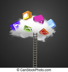 White cloud with colorful app blocks and wooden ladder