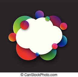 White cloud with colour bubbles on grey.