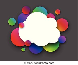 White cloud with colour circles on grey.