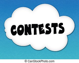 White cloud with CONTESTS message on blue sky background.