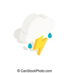 White cloud with lightning and rain drops icon