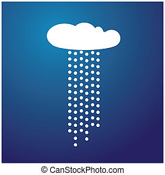 White cloud with rain and blue background vector -...