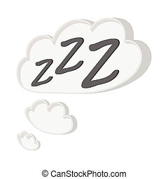 White cloud with ZZZ cartoon icon on a white background