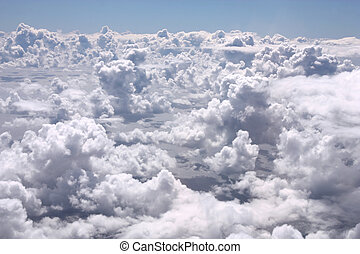 White clouds - Aerial view from an aircraft - cumulus clouds
