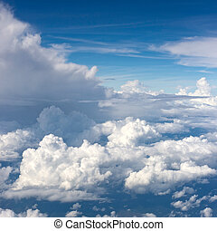 White clouds - Aerial view on white fluffy clouds