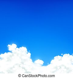 White clouds against blue sky. Natural background.