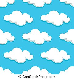 White clouds and sky seamless pattern
