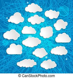 white clouds collection on a blue striped background