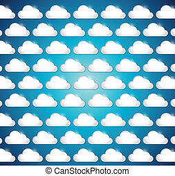 white clouds illustration design over a blue background