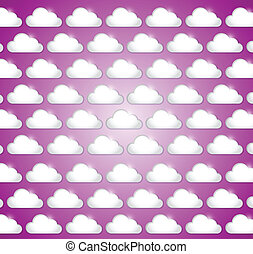 white clouds illustration design over a purple background