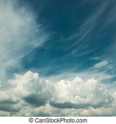 White clouds in a blue fantastic sky
