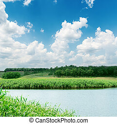 white clouds in blue sky over river