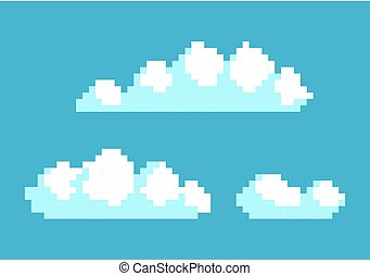 White Clouds in Blue Sky Vector Illustration Pixel