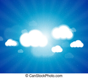 White clouds in the blue clear sky. Vector background