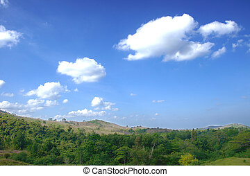 White clouds in the blue sky over mountain