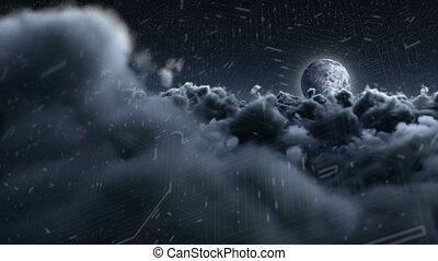 White clouds in the dark sky