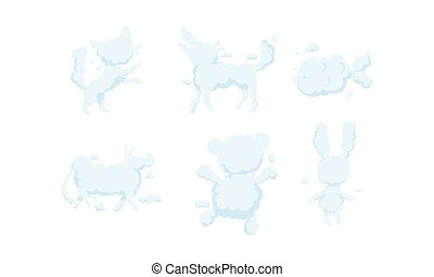 White Clouds in the Shape of Different Animals Collection, Cat, Dog, Fish, Bull, Bear, Hare Vector Illustration