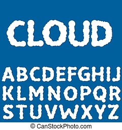 White Clouds letters - White clouds alphabet on the blue...