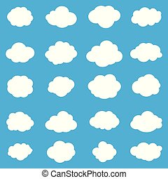 white clouds on blue sky set