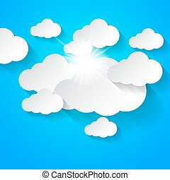 White clouds on blue sky - White clouds and sun shining on...
