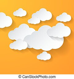 White clouds on orange background - White clouds on bright...