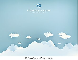 White clouds on pastel blue sky background design paper art and handicraft with copy space.