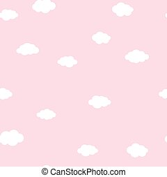 White clouds on pink pattern