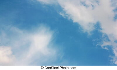 White clouds over blue sky closeup view.