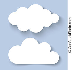 White Clouds Paper Banners, vector illustration