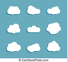 white clouds set collection on blue background