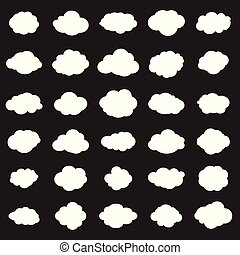 White clouds set icons - White clouds isolated on black...