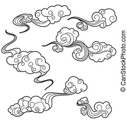 White clouds - Set of white clouds in cartoon style for...