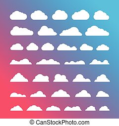 White Clouds silhouettes vector collection on gradint background