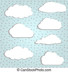 White clouds - Vector illustration of white clouds in polka...