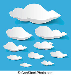 White clouds - Vector illustration of white clouds on blue...