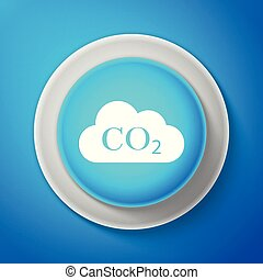 White CO2 emissions in cloud icon isolated on blue background. Carbon dioxide formula symbol, smog pollution concept, environment concept, combustion products. Circle blue button. Vector Illustration