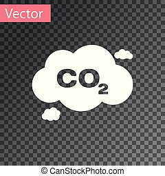 White CO2 emissions in cloud icon isolated on transparent background. Carbon dioxide formula symbol, smog pollution concept, environment concept. Vector Illustration