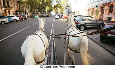 White coach is riding down the street. From the first...