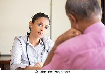 White coat anxiety - Closeup portrait, patient talking...