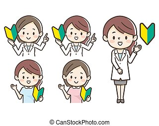 White coat medical worker and beginner mark