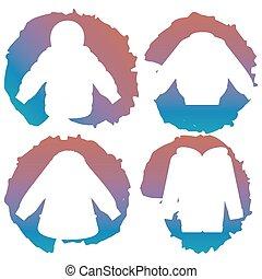White coat silhouettes on colorful splashes, vector illustration