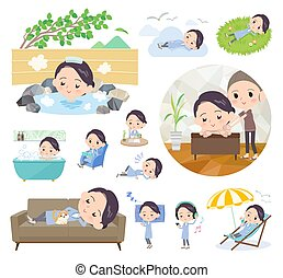 A set of scientist women about relaxing. There are actions such as vacation and stress relief. It's vector art so it's easy to edit.