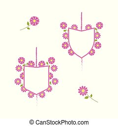 White coats of arms with pink border and pink delicate flowers o